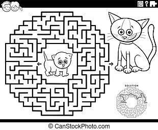 farbton- buch, labyrinth, babykatzen, spiel, seite