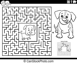 farbton- buch, labyrinth, spiel, hundebabys, seite