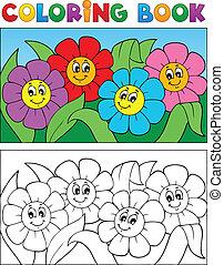 farbton- buch, mit, blume, thema, 1