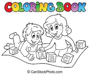 farbton- buch, mit, kinder, und, ziegelsteine
