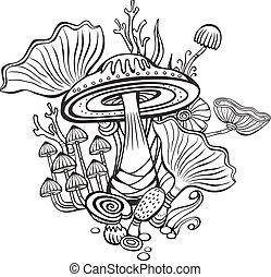 farbton- buch, seite, für, erwachsener, mit, pilze