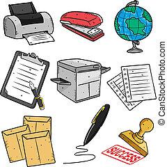 farceren, kantoor, set, pictogram, spotprent