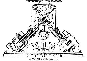 Farcot servo winch, vintage engraved illustration. Industrial encyclopedia E.-O. Lami - 1875.