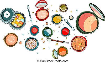 fard paupières, maquillage, poudre, collection, dessin