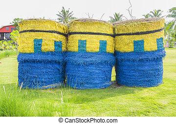 fardos, azul, palha, parque, amarela, thailand.