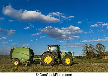 fardos de heno, maquinaria, tractor, elaboración