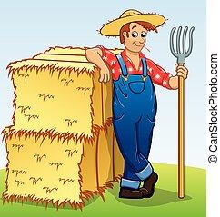 fardos feno, pitchfork, vetorial, caricatura, agricultor