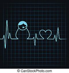 fare, ci, contatto, icona, battito cardiaco