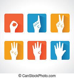 fare, cinque, numero zero, mani