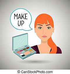fare, donna, su, cosmetico