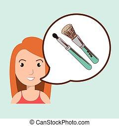 fare, donna, su, spazzola