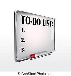 fare elenco, whiteboard, parola