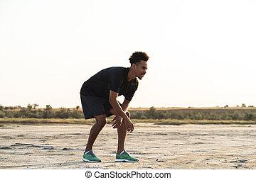 fare, giovane, sport, idoneità, esercizi, outdoors., uomo