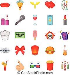 Fare icons set, cartoon style