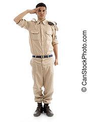 fare il saluto militare, americano, giovane, guardia