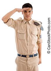 fare il saluto militare, polizia, giovane