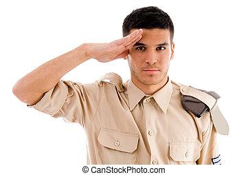 fare il saluto militare, soldato, ritratto
