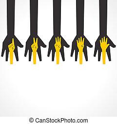 fare, mani, cinque, numero