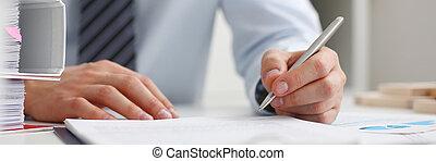 fare, mano, nota, penna, presa a terra, pronto, maschio, argento
