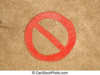 fare, non, segno, su, il, pavimento cemento