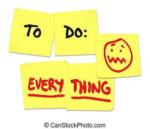fare, tutto, parole, note appiccicose, stress, ha lavorato...