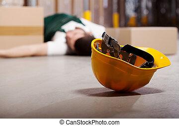 farefulde, arbejde, during, ulykke