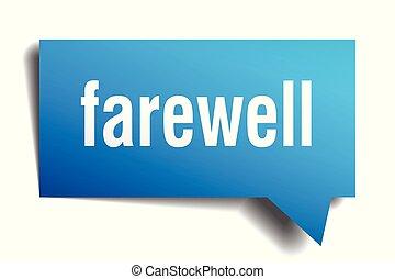 farewell blue 3d speech bubble - farewell blue 3d square...