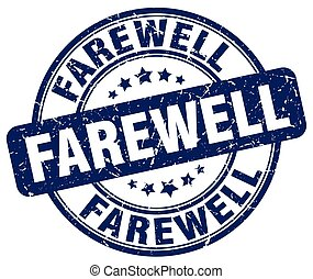 farewell blue grunge stamp