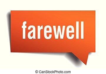 farewell orange 3d speech bubble - farewell orange 3d square...