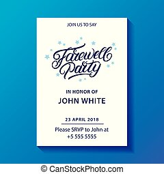 Farewell party hand written lettering. Invitation card,...