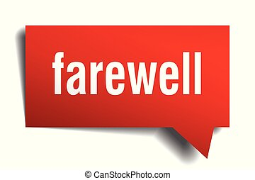 farewell red 3d speech bubble - farewell red 3d square...