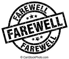 farewell round grunge black stamp