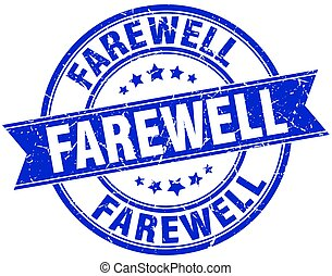 farewell round grunge ribbon stamp
