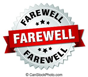 farewell round isolated silver badge