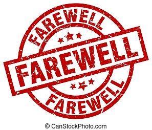 farewell round red grunge stamp