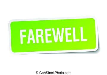 farewell square sticker on white