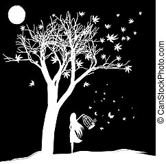 black and white fantasy: a tree, the moon and the girl, letting butterflies out of the cage