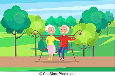 farföräldrar, par, bänk, senior, dag, lycklig