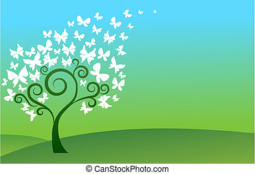 farfalla, albero verde