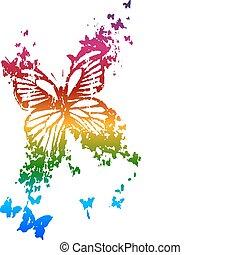 farfalla, arcobaleno, stile