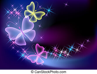 farfalla, ardendo, trasparente, fondo