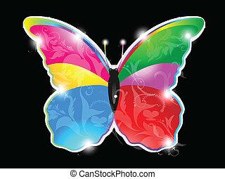 farfalla, astratto, baluginante, colorito