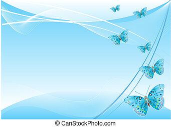 farfalla, astratto, fondo