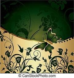 farfalla, astratto, fondo, oro