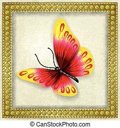 farfalla, astratto, grunge, fondo
