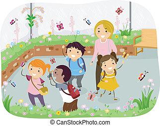 farfalla, bambini scuola, stickman, giardino, viaggio