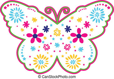 farfalla, bello, fiore, illustrazione