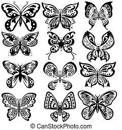 farfalla, bianco, set, nero