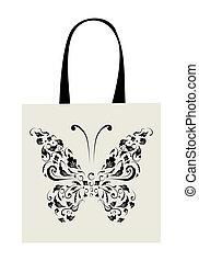 farfalla, borsa, shopping, disegno, vendemmia