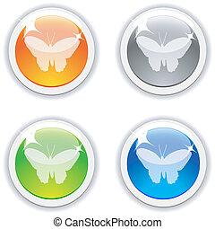 farfalla, buttons.